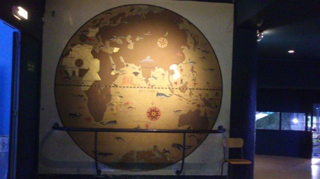 hand-painted world map in the aquarium