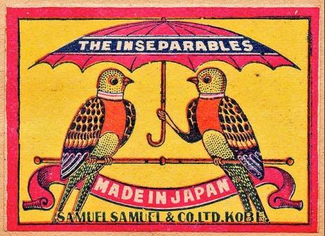 The inseparables, Japanese matchbox, circa 1900
